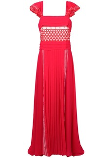 Philosophy pleated geometric patterned gown