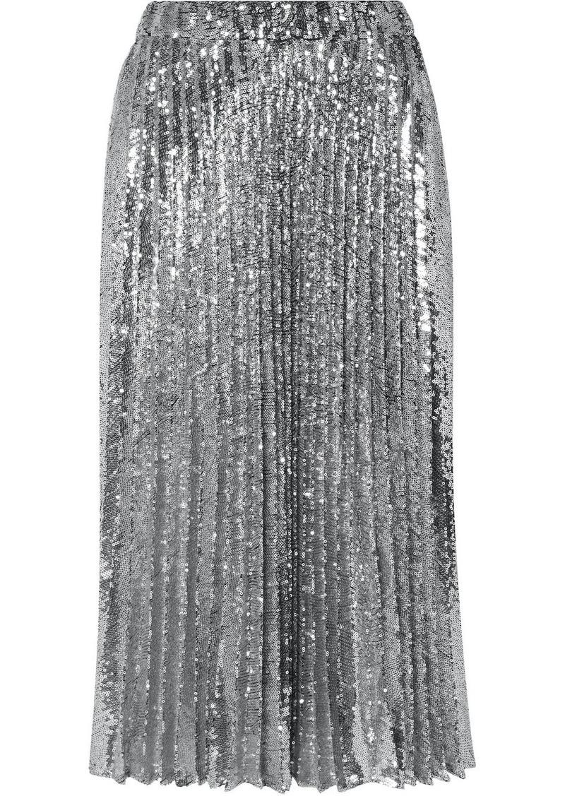 Philosophy Pleated Sequined Tulle Midi Skirt