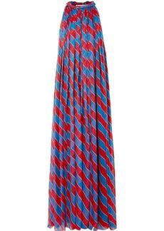 Philosophy Pleated Striped Silk-chiffon Halterneck Gown