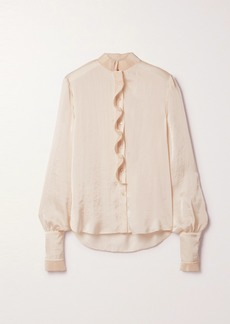 Philosophy Plissé Ruffled Hammered-satin Blouse