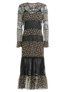 Philosophy Printed Silk Dress with Lace
