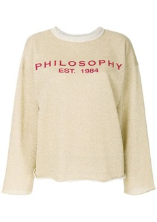 Philosophy raw hem logo sweatshirt
