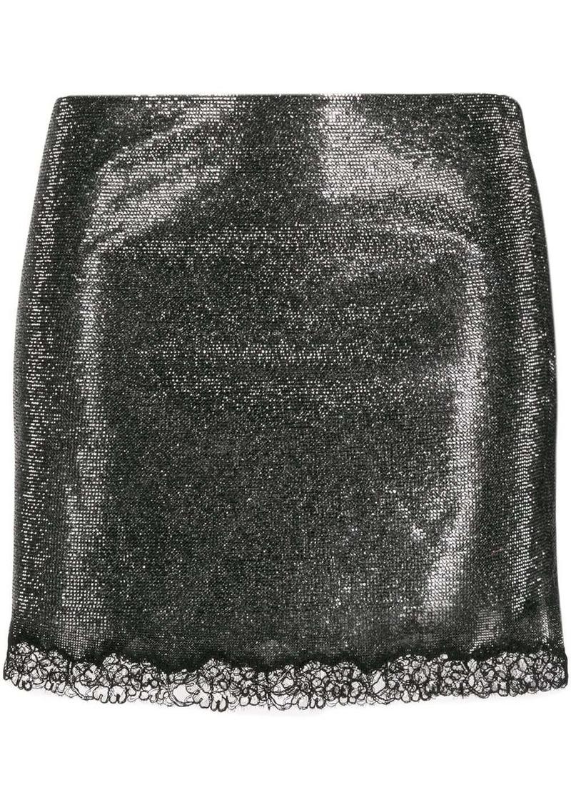 Philosophy rhinestone-embellished lace-hem skirt