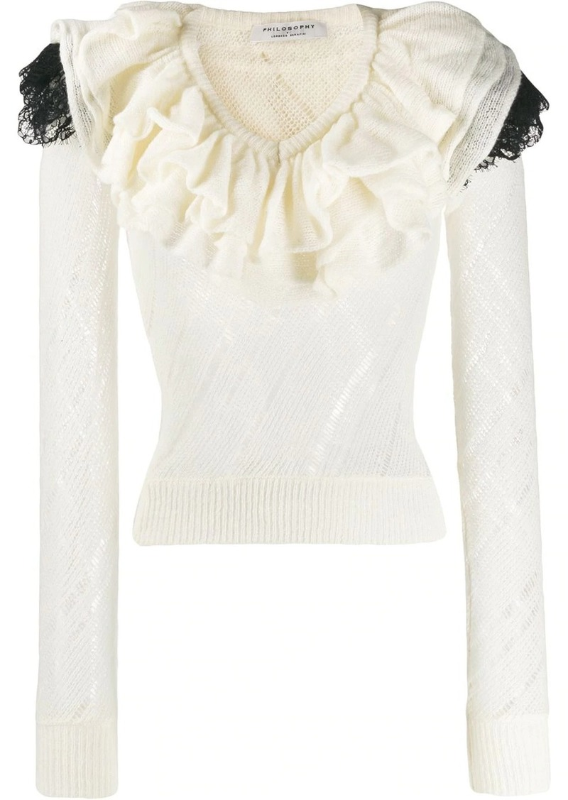 Philosophy ruffle trim knitted top