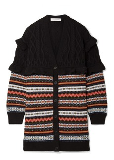 Philosophy Ruffle-trimmed Fair Isle Cable-knit Wool Cardigan