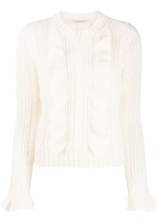 Philosophy ruffle-trimmed knitted jumper