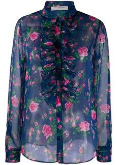 Philosophy ruffle-trimmed rose-print chiffon blouse