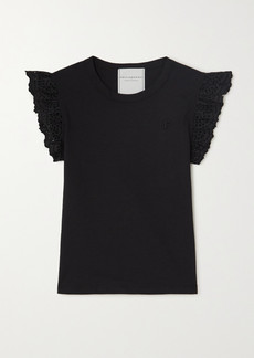 Philosophy Ruffled Broderie Anglaise-trimmed Cotton-jersey Top