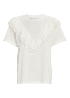 Philosophy Ruffled Crewneck Cotton T-Shirt