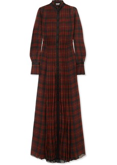 Philosophy Satin-trimmed Pleated Tartan Chiffon Maxi Dress
