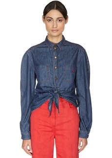Philosophy Self-tie Cotton Denim Shirt
