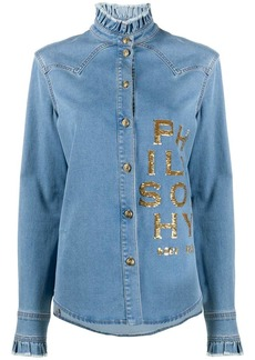 Philosophy sequin-logo ruffled denim shirt