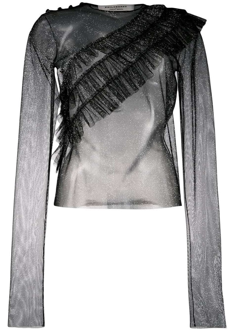 Philosophy sheer ruffle front blouse