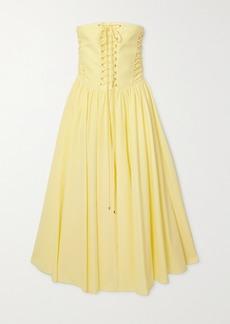 Philosophy Strapless Lace-up Cotton-poplin Midi Dress
