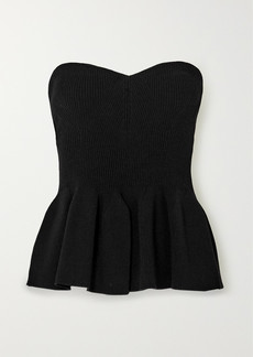 Philosophy Strapless Ribbed-knit Peplum Top