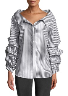 Philosophy Striped Pinned-Sleeve Button Front Blouse