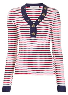 Philosophy striped v-neck knitted top