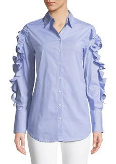 Philosophy Striped Woven Button-Down Blouse w/ Ruffle & Tie Details