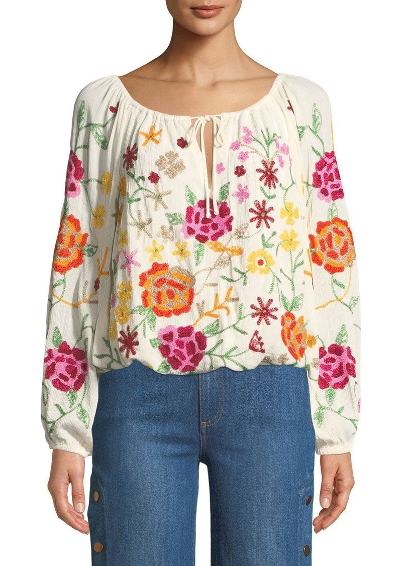 85e2e34d3e43fb Philosophy Tie-Front Embroidered Peasant Blouse | Casual Shirts