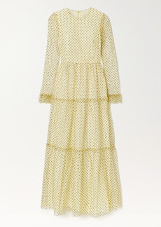 Philosophy Tiered Polka-dot Flocked Lace Maxi Dress