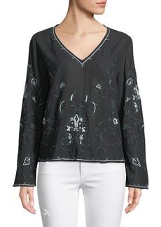 Philosophy V-Neck Floral Embroidered Blouse