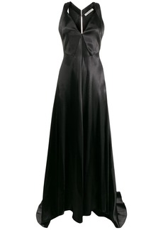 Philosophy V-neck waxed satin gown