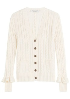 Philosophy Wool Cable Knit Cardigan with Ruffled Cuffs