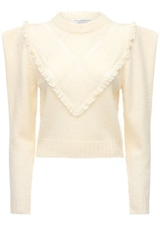 Philosophy Wool Knit Sweater W/ Lace Trim