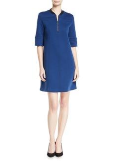 Piazza Sempione 3/4-Sleeve 1/2-Zip Paneled Double Knit Dress