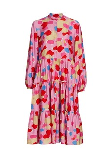 Piazza Sempione Abstract Watercolor Midi Dress