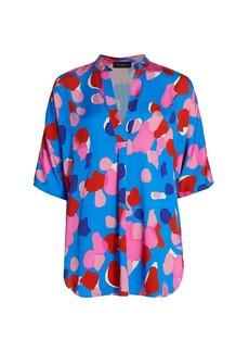 Piazza Sempione Abstract Watercolor Printed Fluid Viscose Tunic Shirt