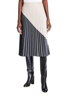 Piazza Sempione Accordion Pleated Bicolor Midi Skirt