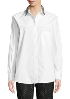 Piazza Sempione Animal Metallic Embroidered Button-Front Cotton Shirt