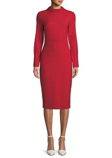 Piazza Sempione Audrey Mock-Neck Long-Sleeve Fitted Dress