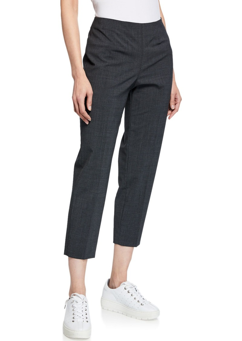 Piazza Sempione Audrey Straight-Leg Stretch-Wool Cropped Pants  Gray