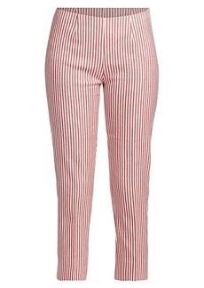 Piazza Sempione Audrey Striped Linen-Blend Cropped Pants