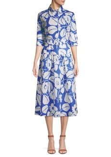 Piazza Sempione Belted Floral Shirtdress