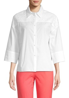 Piazza Sempione Boxy Lace Button-Down Shirt