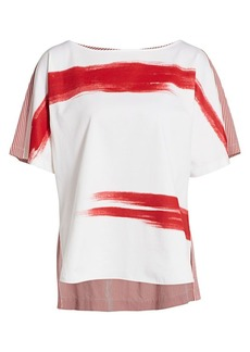 Piazza Sempione Brushstroke Striped Back Top