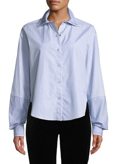 Piazza Sempione Button-Front Big-Sleeve Striped Shirt w/ Plaid Collar