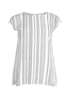 Piazza Sempione Cap Sleeve Striped Shell Top