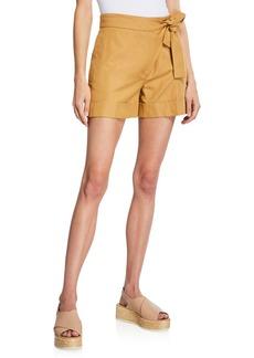 Piazza Sempione Cotton/Ramie Canvas Side-Tie Shorts