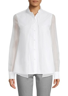 Piazza Sempione Double Organza Button-Down Shirt