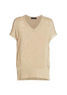 Piazza Sempione Drop Stitch Short Sleeve Knit Top