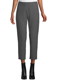 Piazza Sempione Elastic-Back Pinstripe Wool Trousers
