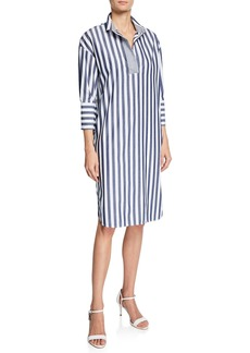 Piazza Sempione Elongated Striped Cotton Shirtdress