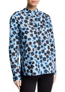 Piazza Sempione Floral Cotton Half-Button Shirt