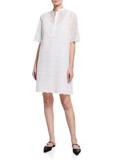 Piazza Sempione Floral Laser-Cut Shift Dress