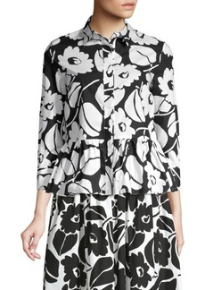 Piazza Sempione Floral Peplum Button-Down Blouse