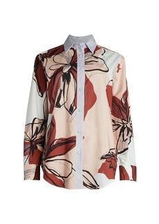 Piazza Sempione Floral Pinstripe Button-Down Shirt